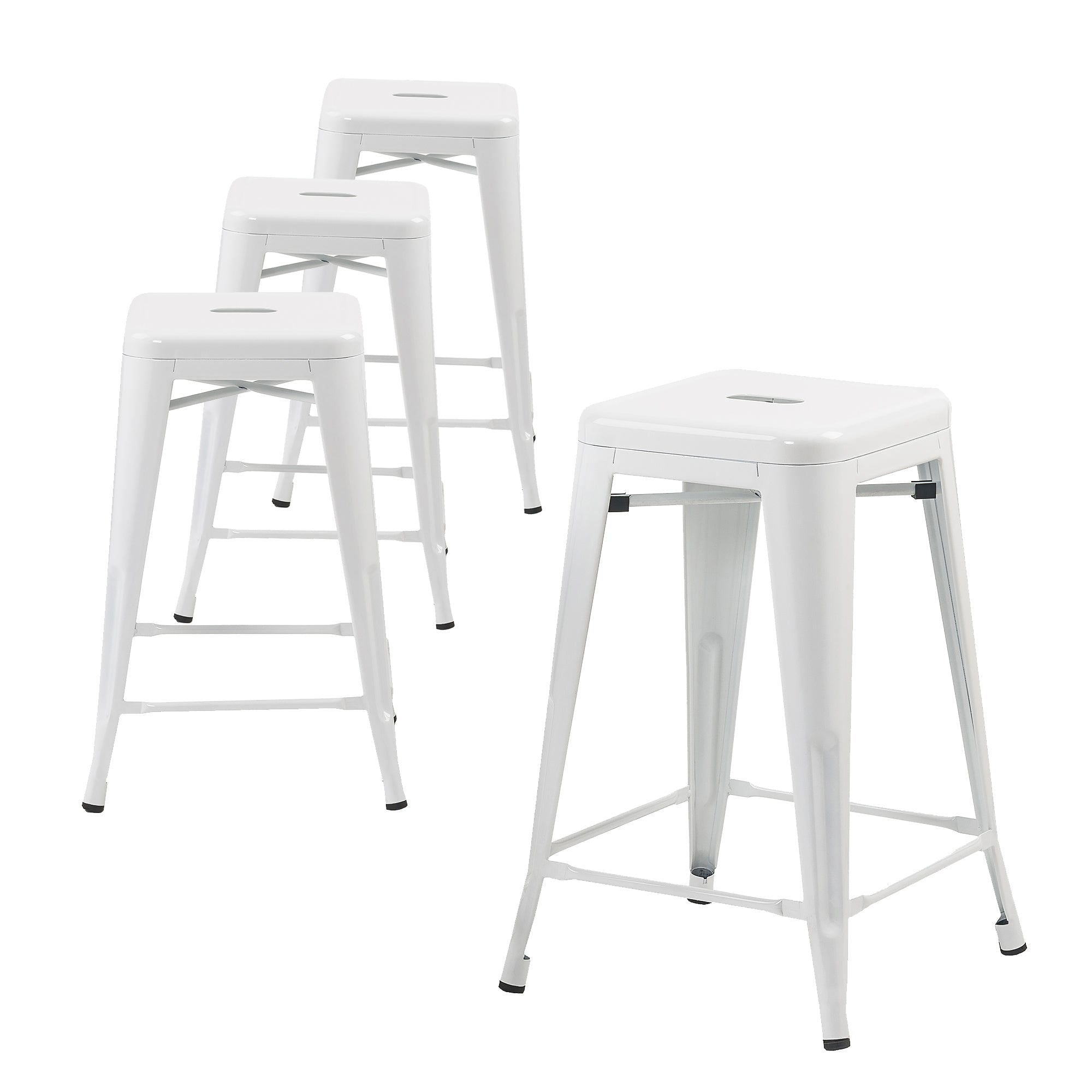 Buschman Set Of 4 White 24 Inch Counter Height Metal Bar Stools