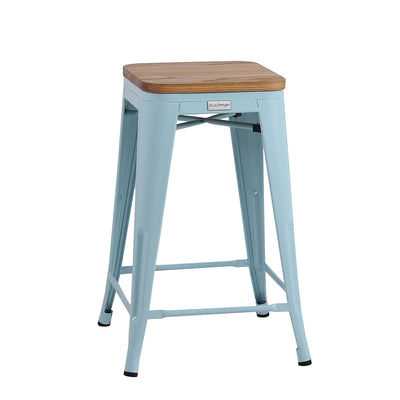 "Buschman Metal Bar Stools 24"" Counter Height, Indoor/Outdoor and Stackable, Set of 4 (Light Blue with Light Wooden Seat)"
