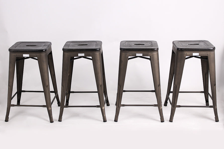 "Buschman Metal Bar Stools 24"" Counter Height, Indoor/Outdoor and Stackable, Set of 4 (Bronze with Premium Wooden Seat)"