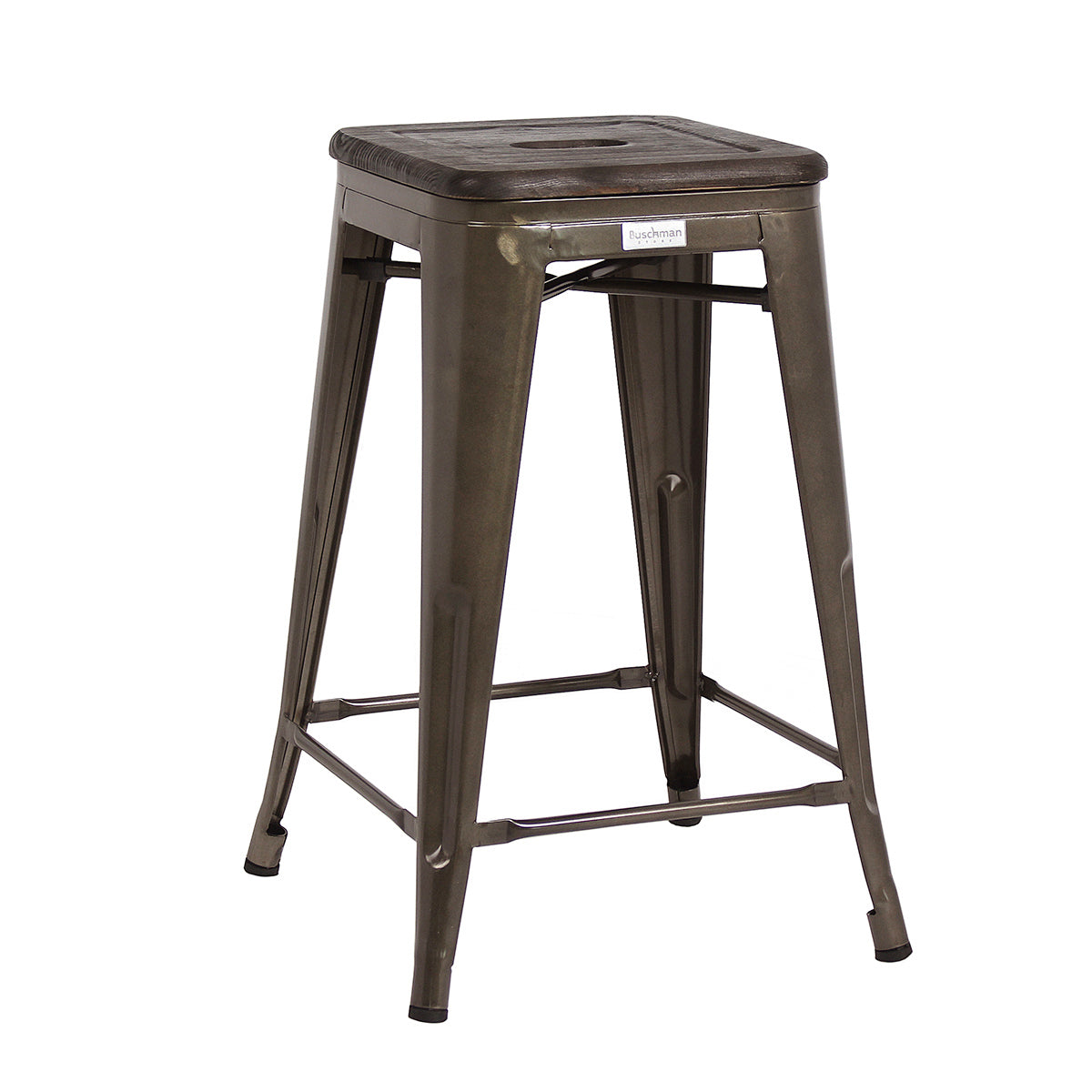"Buschman Metal Bar Stools 24"" Counter Height, Indoor/Outdoor and Stackable, Set of 4 (Gun Metal with Premium Wooden Seat)"