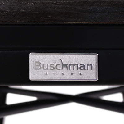 "Buschman Metal Bar Stools 24"" Counter Height, Indoor/Outdoor and Stackable, Set of 4 (Matte Black with Premium Wooden Seat)"
