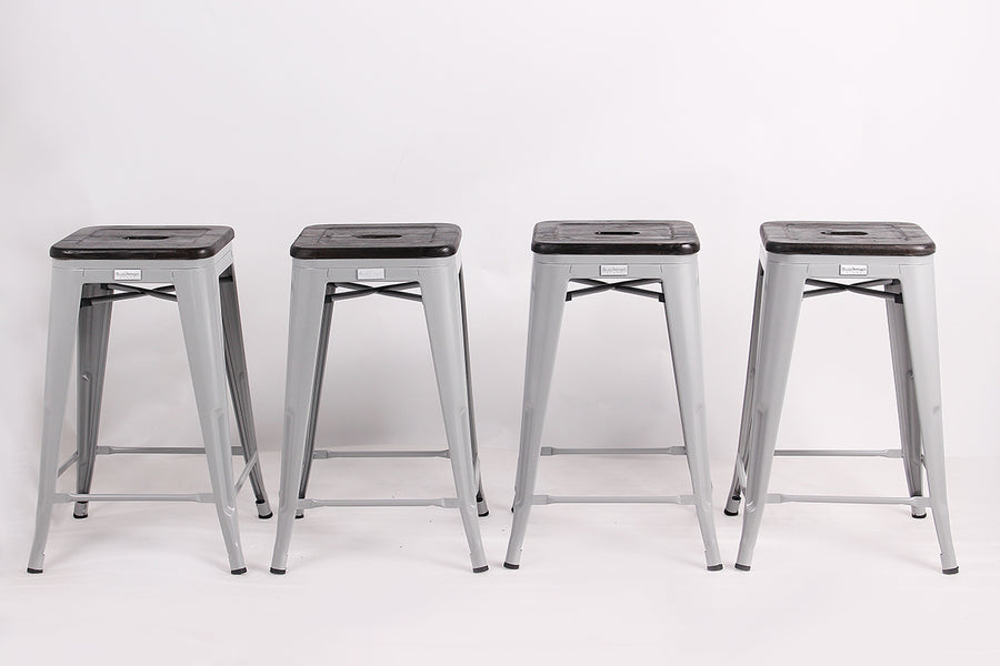 "Buschman Metal Bar Stools 24"" Counter Height, Indoor/Outdoor and Stackable, Set of 4 (Regular Grey with Premium Wooden Seat)"