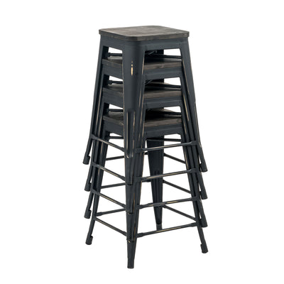 "Buschman Set of Four Antique Black 24"" Industrial Metal Stackable Backless Barstools with Wooden Seat"