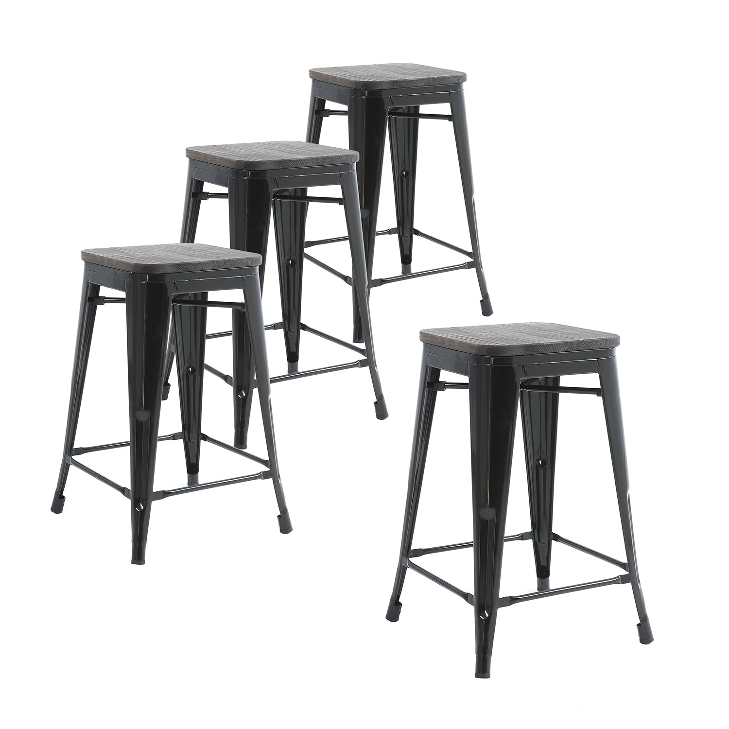 Buschman Set Of 4 Black Wooden Seat 24 Inch Counter Height Metal Bar