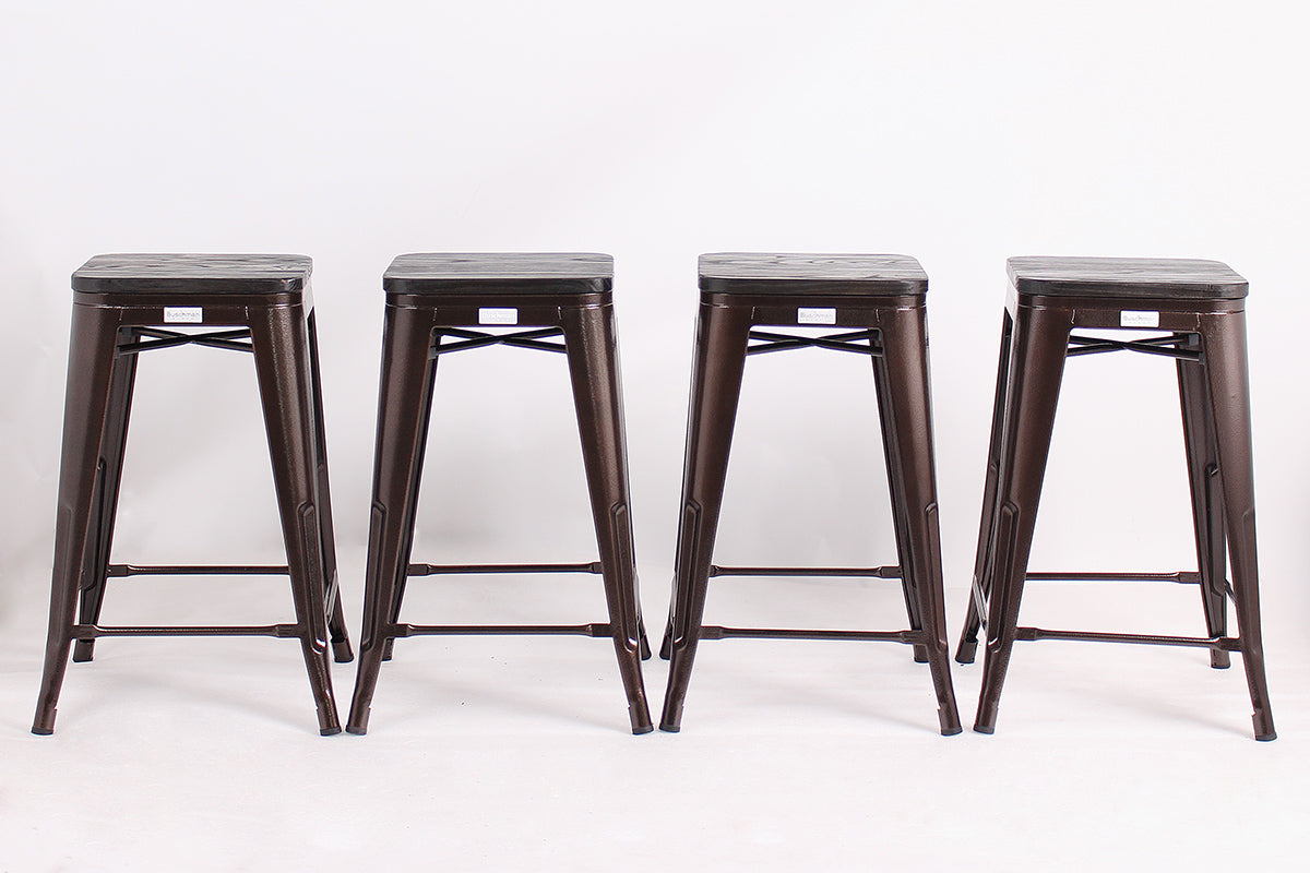 "Buschman Metal Bar Stools 24"" Counter Height, Indoor/Outdoor and Stackable, Set of 4 (Copper with Wooden Seat)"
