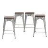 Buschman Set of 4 Galvanized Wooden Seat 24 Inch Counter Height Metal Bar Stools, Indoor/Outdoor Stackable