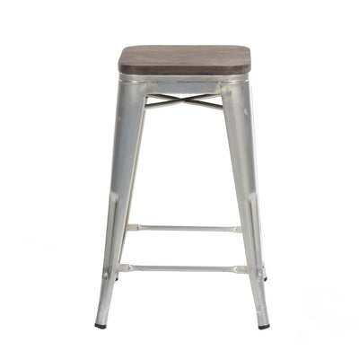 "Buschman Set of Two Galvanized 24"" Industrial Metal Stackable Backless Barstools with Wooden Seat"