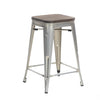 "Buschman Set of Four Galvanized 24"" Industrial Metal Stackable Backless Barstools with Wooden Seat"