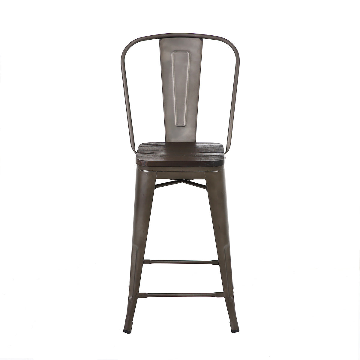 Brilliant 24 Inch Bronze Metal Counter Stools With Wooden Seat High Back Set Of 4 Caraccident5 Cool Chair Designs And Ideas Caraccident5Info