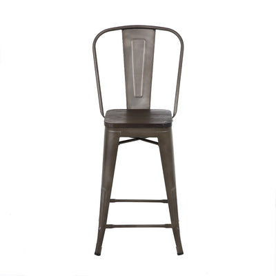 24 Inch Bronze Metal Counter Stools with Wooden Seat & High Back (Set of 4)