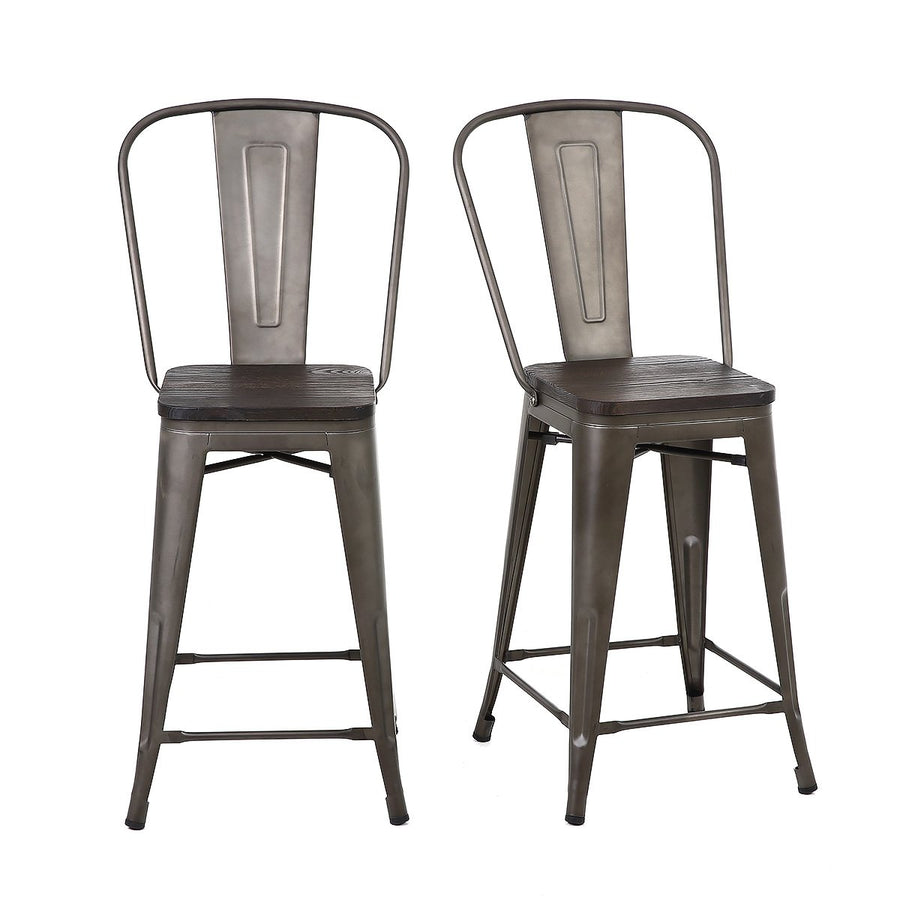 Buschman Set of 4 Bronze Wooden Seat 24 Inch Counter Height Metal Bar Stools with High Back, Indoor/Outdoor