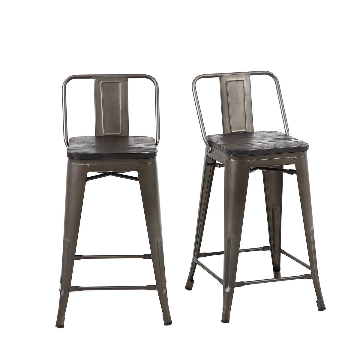 Brilliant 24 Inch Bronze Metal Counter Stools With Wooden Seat Medium Back Set Of 4 Caraccident5 Cool Chair Designs And Ideas Caraccident5Info