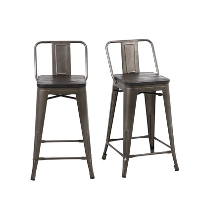 24 Inch Bronze Metal Counter Stools with Wooden Seat & Medium Back (Set of 4)