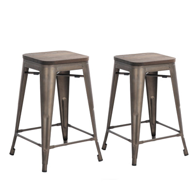 "Buschman Set of Two Bronze 24"" Industrial Metal Stackable Backless Barstools with Wooden Seat"
