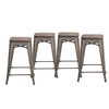 "Buschman Set of Four Bronze 24"" Industrial Metal Stackable Backless Barstools with Wooden Seat"