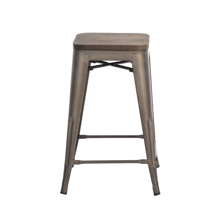 Buschman 24 Inch Counter Height Bronze Metal Bar Stools with Wooden Seat, Set of 4, Indoor/Outdoor, Stackable