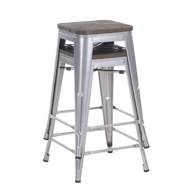 "Buschman Set of Two Grey 24"" Industrial Metal Stackable Backless Barstools with Wooden Seat"