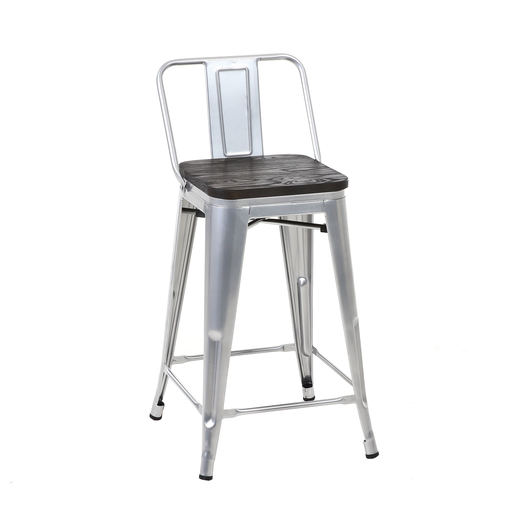 Superb Buschman Set Of 4 Grey Wooden Seat 24 Inch Counter Height Metal Bar Stools With Medium Back Indoor Outdoor Forskolin Free Trial Chair Design Images Forskolin Free Trialorg