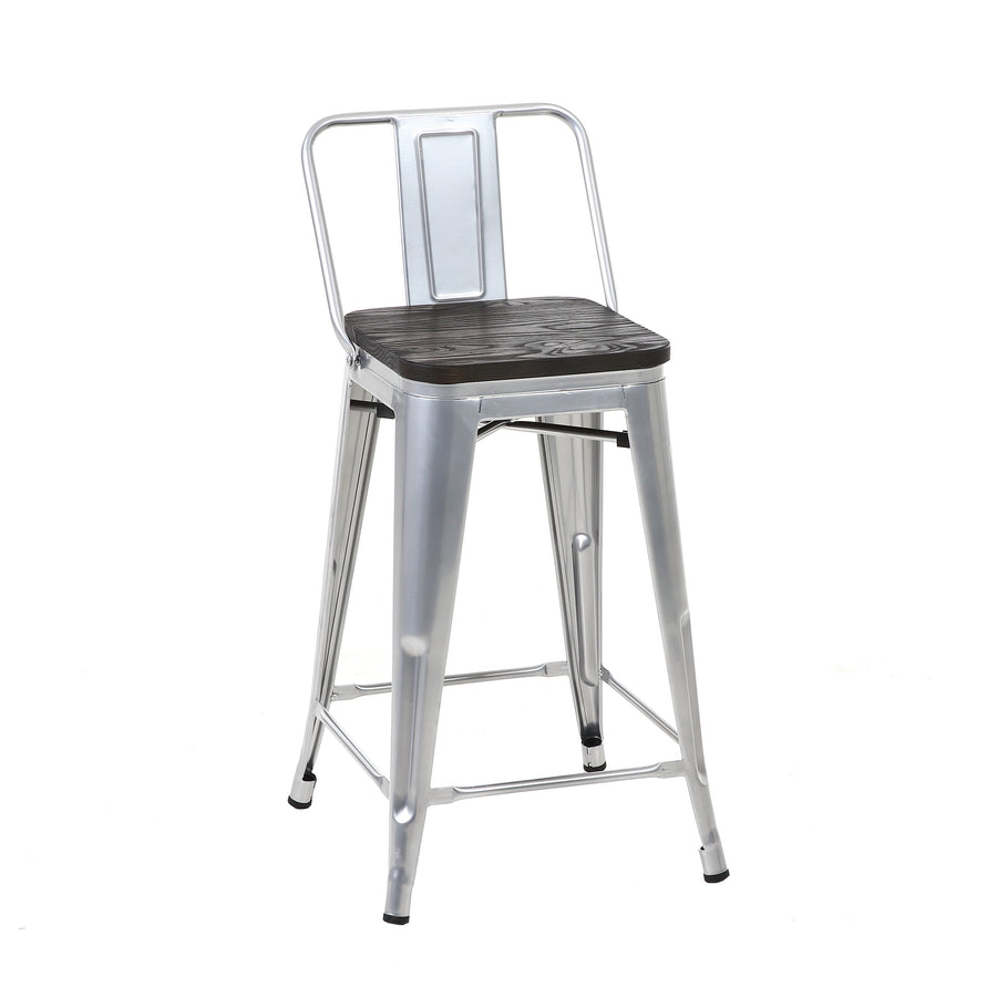 Buschman Set of 4 Grey Wooden Seat 24 Inch Counter Height Metal Bar Stools with Medium Back, Indoor/Outdoor
