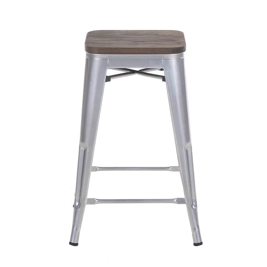 Buschman Set of 4 Grey Wooden Seat 24 Inch Counter Height Metal Bar Stools, Indoor/Outdoor Stackable