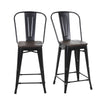 Buschman Set of 4 Matte Black Wooden Seat 24 Inch Counter Height Metal Bar Stools with High Back, Indoor/Outdoor