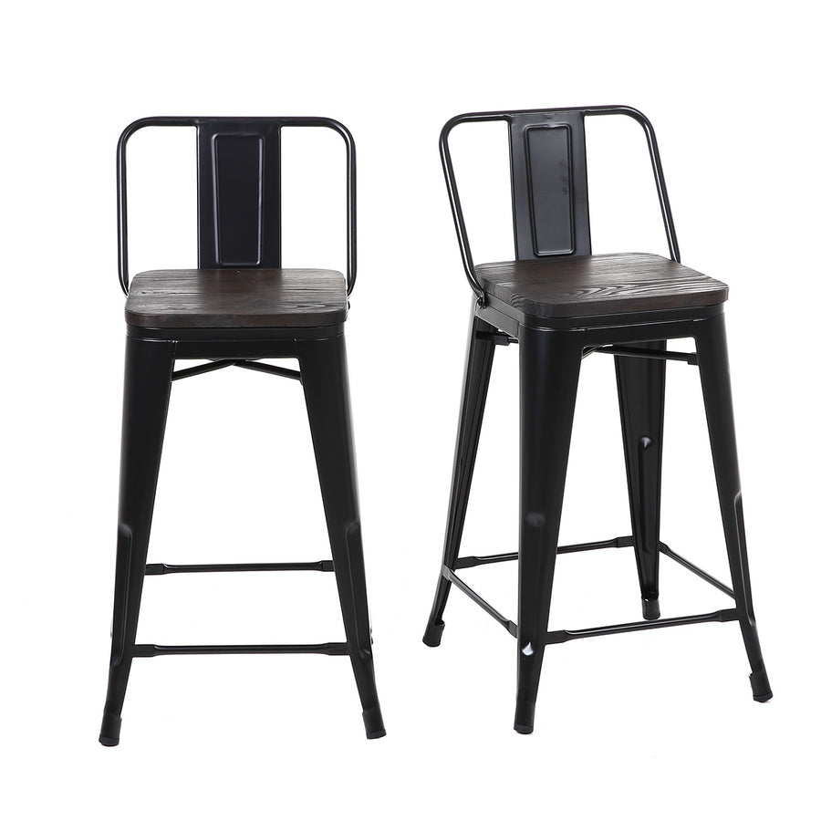 Buschman Set of 4 Matte Black Wooden Seat 24 Inch Counter Height Metal Bar Stools with Medium Back, Indoor/Outdoor