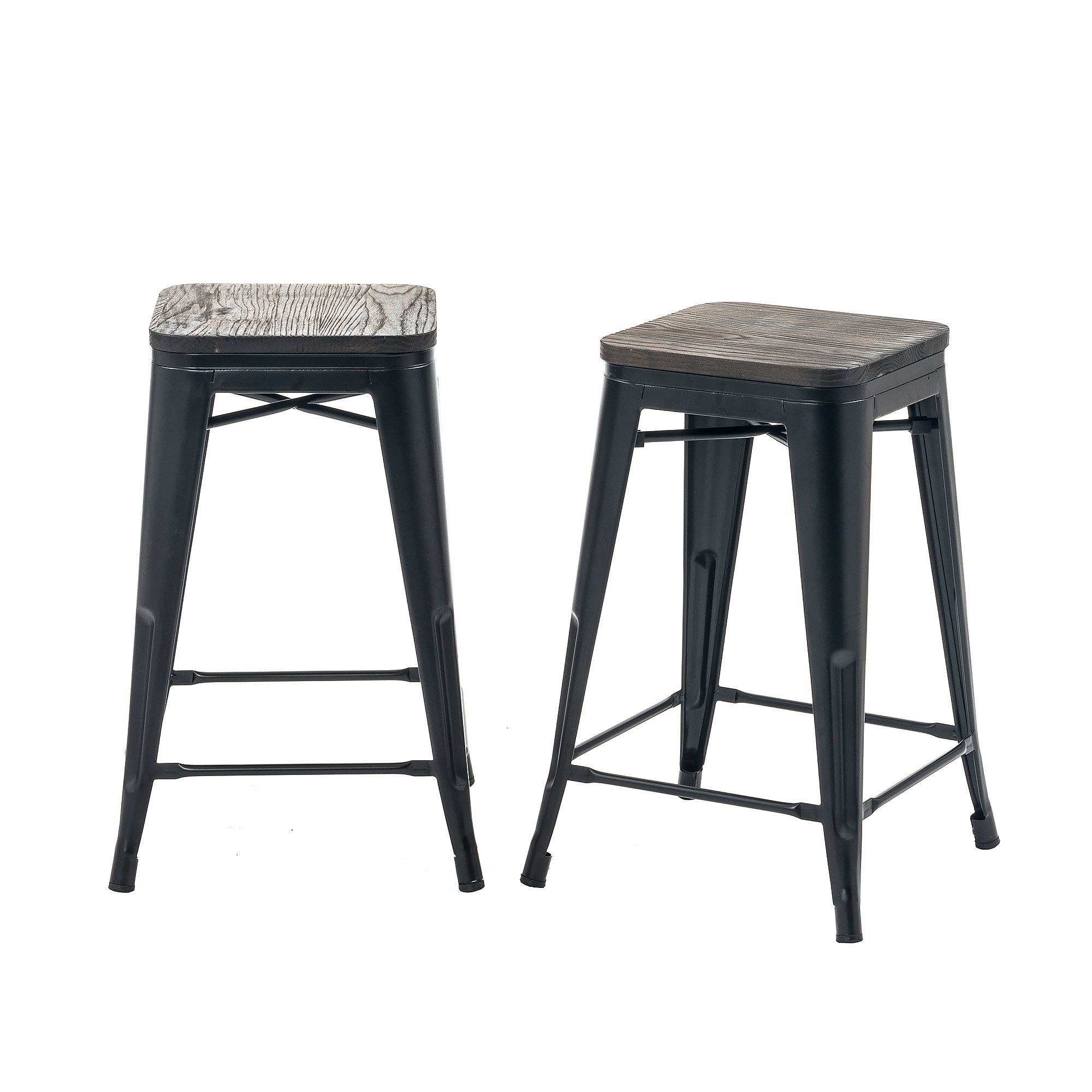 Buschman Set Of 2 Matte Black Wooden Seat 24 Inch Counter Height