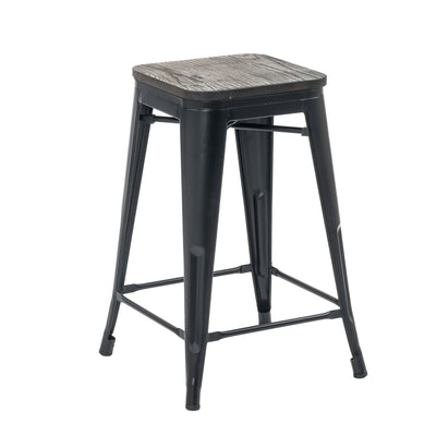 "Buschman Set of Four Matte Black 24"" Industrial Metal Stackable Backless Barstools with Wooden Seat"