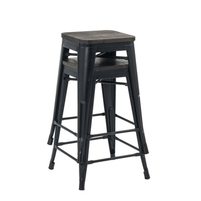 Buschman Set of 2 Matte Black Wooden Seat 24 Inch Counter Height Metal Bar Stools, Indoor/Outdoor, Stackable