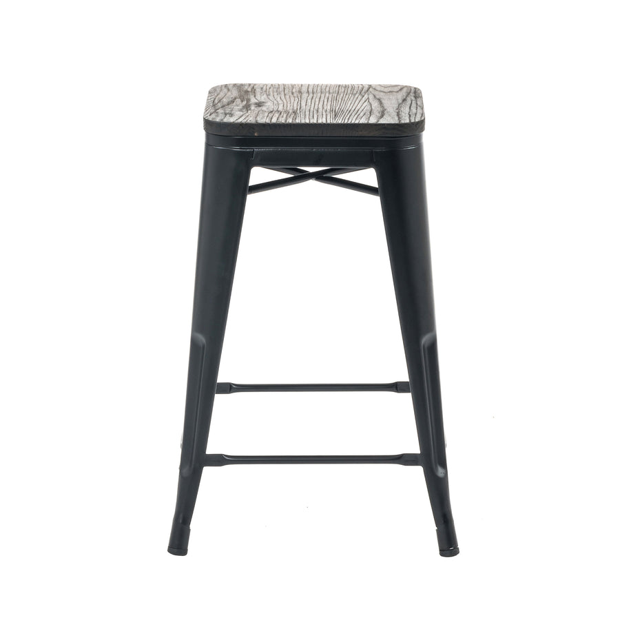 "Buschman Metal Bar Stools 24"" Counter Height, Indoor/Outdoor and Stackable, Set of 4 (Matte Black with Wooden Seat)"