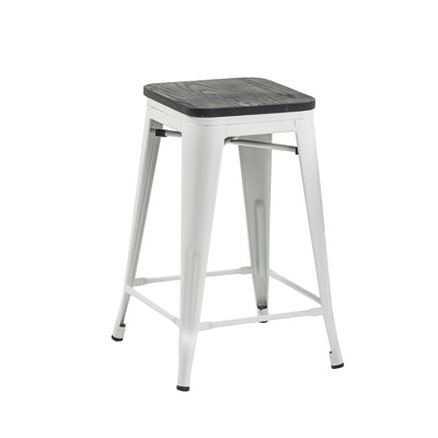 Buschman Set of 4 Matte White Wooden Seat 24 Inch Counter Height Metal Bar Stools, Indoor/Outdoor Stackable