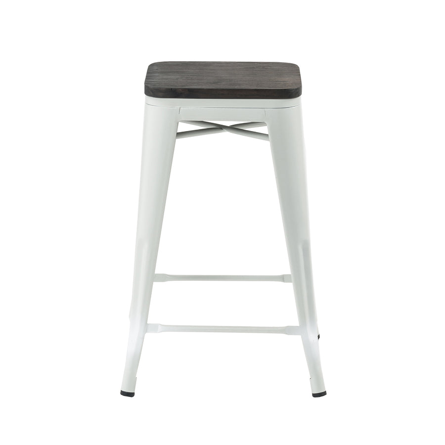 "Buschman Metal Bar Stools 24"" Counter Height, Indoor/Outdoor and Stackable, Set of 4 (Matte White with Wooden Seat)"