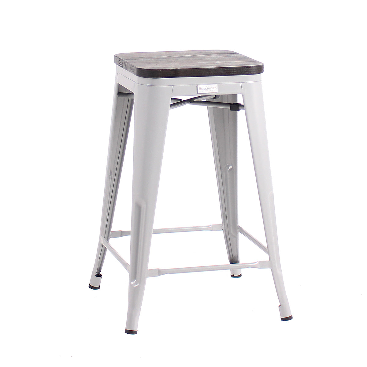 "Buschman Metal Bar Stools 24"" Counter Height, Indoor/Outdoor and Stackable, Set of 4 (Regular Grey with Wooden Seat)"