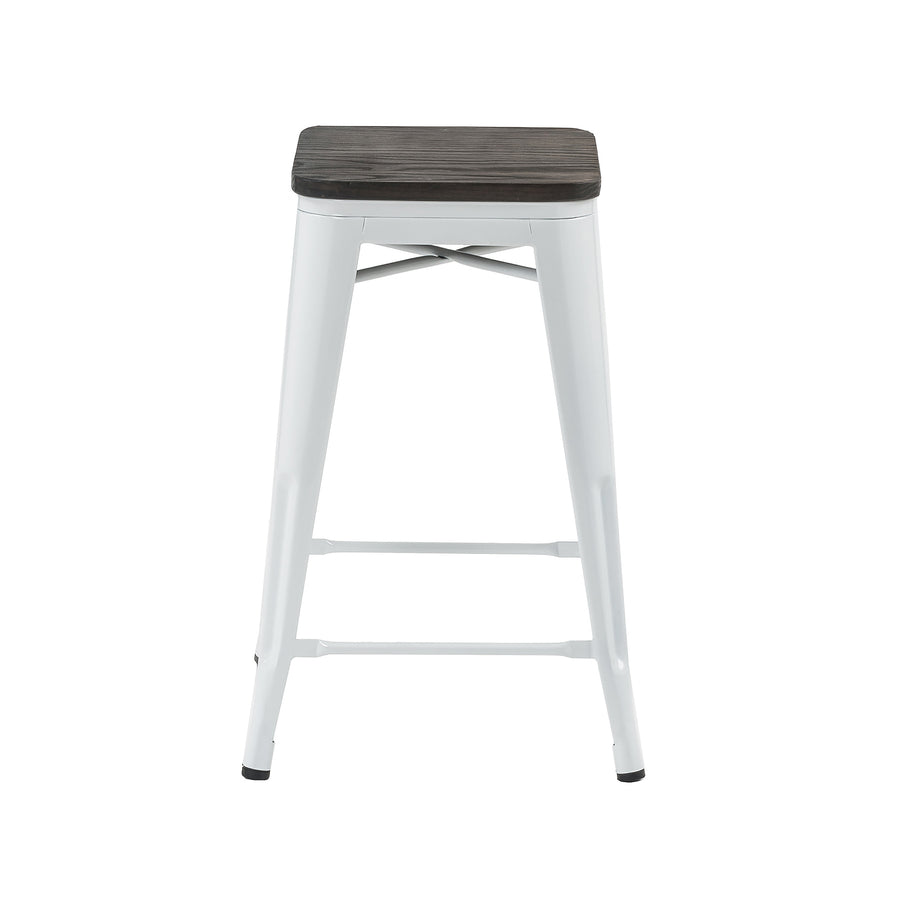 "Buschman Store Metal Bar Stools 24"" Counter Height, Indoor/Outdoor and Stackable, Set of 4 (White with Wooden Seat)"