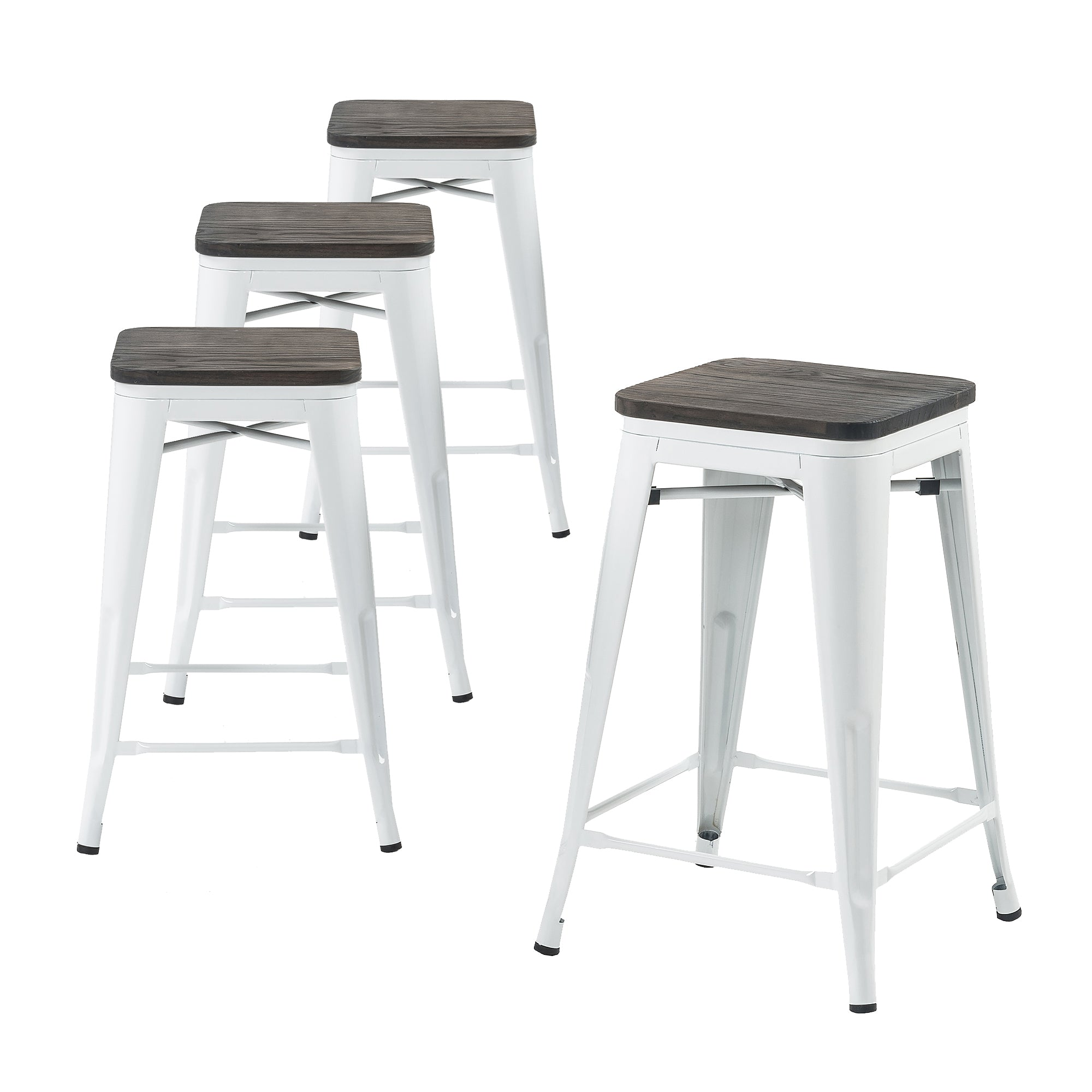 Fine Buschman Store Metal Bar Stools 24 Counter Height Indoor Outdoor And Stackable Set Of 4 White With Wooden Seat Gmtry Best Dining Table And Chair Ideas Images Gmtryco