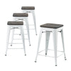 Buschman Set of 4 White Wooden Seat 24 Inch Counter Height Metal Bar Stools, Indoor/Outdoor Stackable
