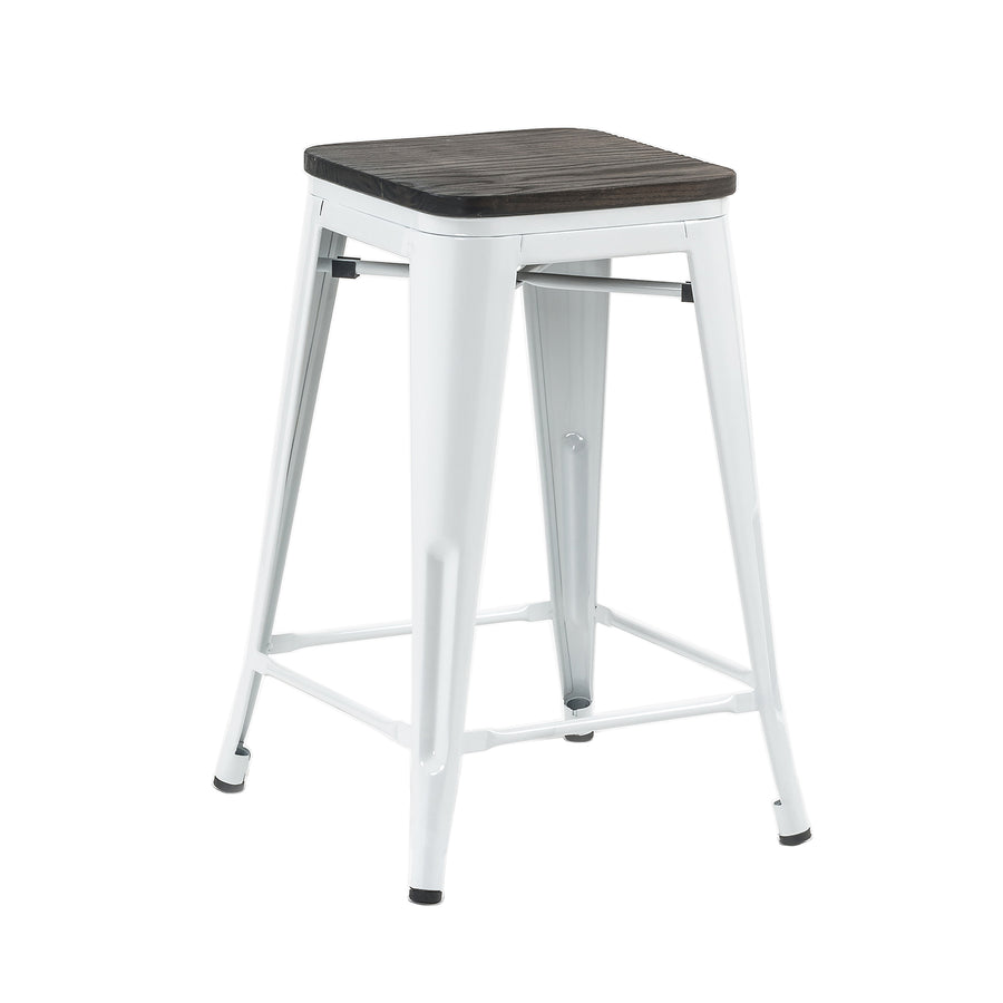Buschman Set of 2 White Wooden Seat 24 Inch Counter Height Metal Bar Stools, Indoor/Outdoor, Stackable