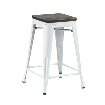 "Buschman Set of Four White  24"" Industrial Metal Stackable Backless Barstools with Wooden Seat"