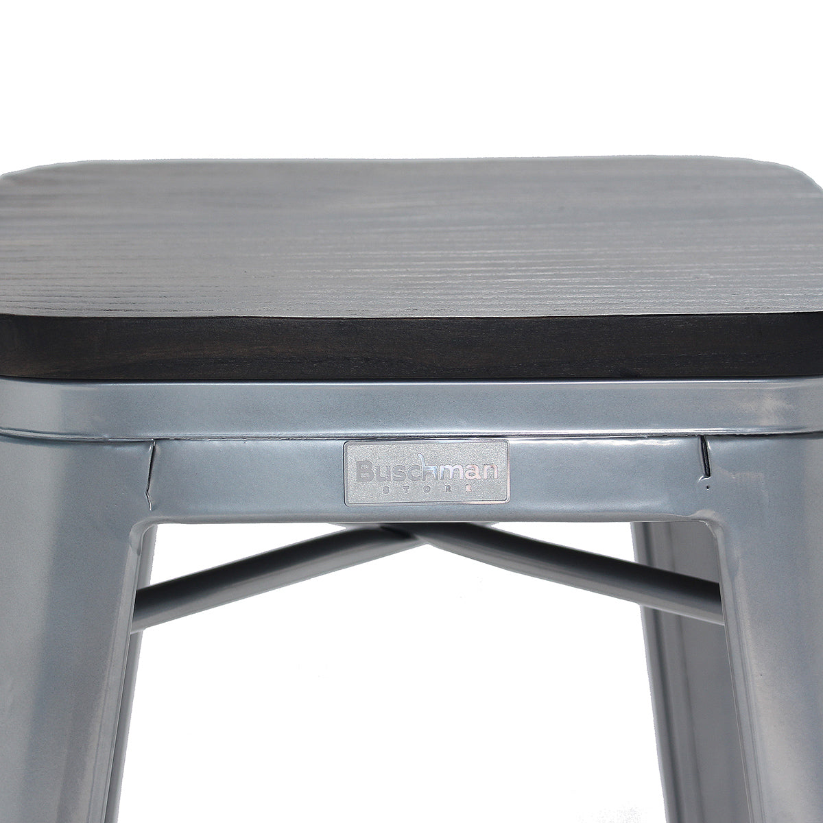 Buschman Set of 4 Gray Wooden Seat 26 Inch Counter Height Metal Bar Stools, Indoor/Outdoor