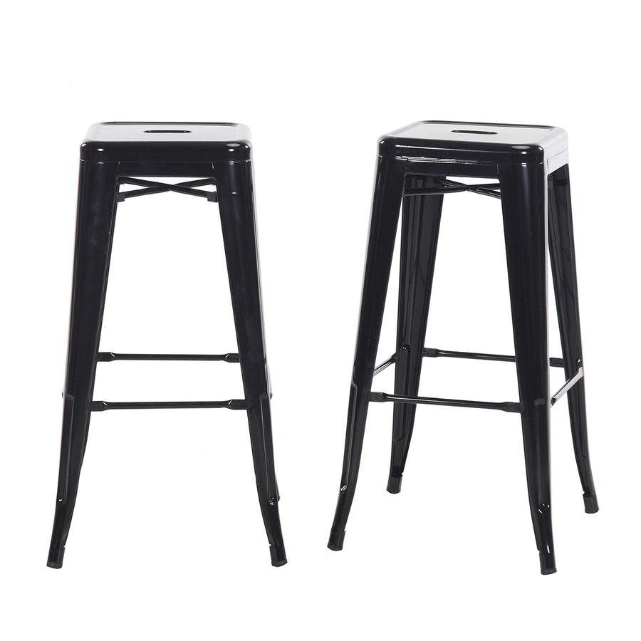 Buschman Set of 2 Black 30 Inch Bar Height Metal Bar Stools, Indoor/Outdoor, Stackable