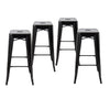 "Buschman Metal Bar Stools 30"" Bar Height, Indoor/Outdoor and Stackable, Set of 4 (Black)"