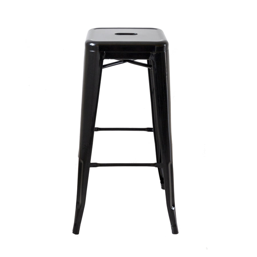 "Buschman Set of Four Black 30"" Industrial Metal Stackable Backless Barstools"