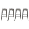 "Buschman Set of Four Zinc Galvanized 30"" Industrial Metal Stackable Backless Barstools"