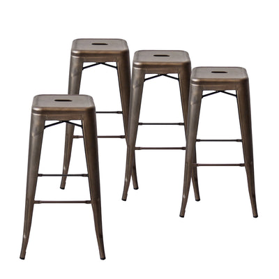 Buschman Set of 4 Bronze 30 Inch Bar Height Metal Bar Stools, Indoor/Outdoor Stackable