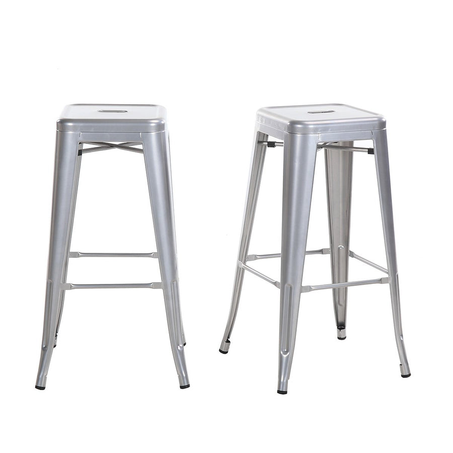 Buschman Set of 2 Gray 30 Inch Bar Height Metal Bar Stools, Indoor/Outdoor, Stackable