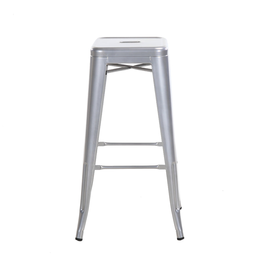 "Buschman Metal Bar Stools 30"" Bar Height, Indoor/Outdoor and Stackable, Set of 4 (Grey)"