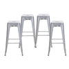 "Buschman Set of Four Grey 30"" Industrial Metal Stackable Backless Barstools"