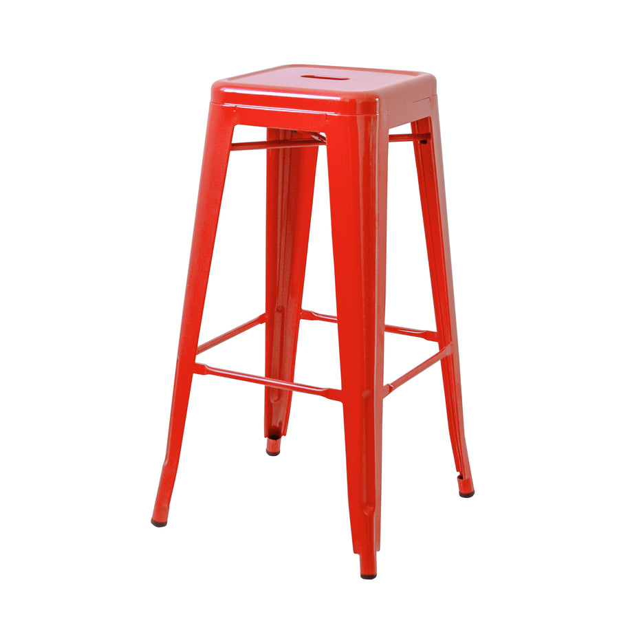 "Buschman Set of Four Red 30"" Industrial Metal Stackable Backless Barstools"