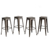 "Buschman Set of Four Bronze 30"" Industrial Metal Stackable Backless Barstools with Wooden Seat"