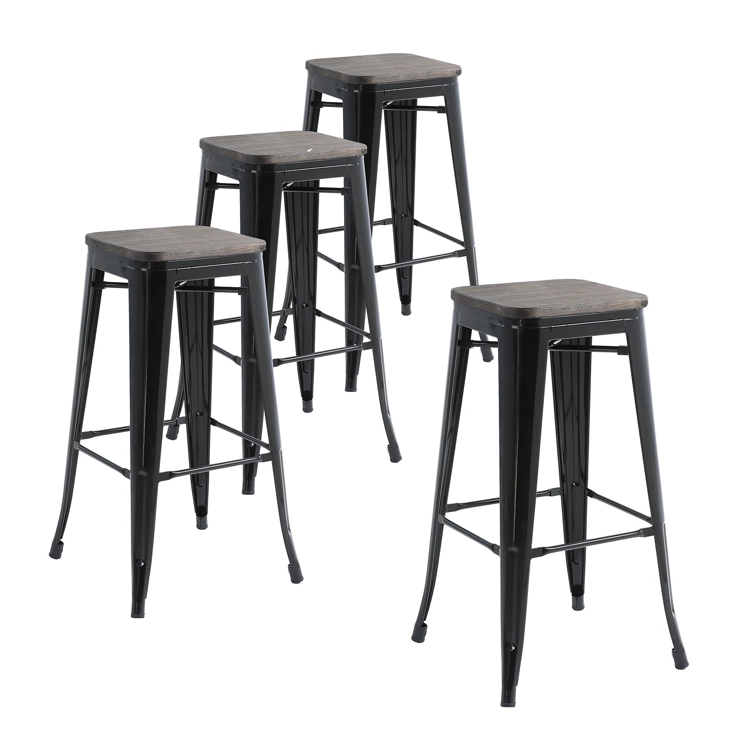 Magnificent Buschman Set Of 4 Black Wooden Seat 30 Inch Bar Height Metal Bar Stools Indoor Outdoor Stackable Pabps2019 Chair Design Images Pabps2019Com